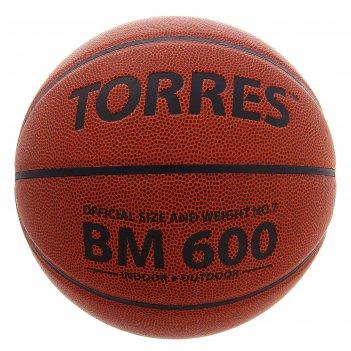 Мяч баскетбольный torres bm 600, р.7, оранжево-черный