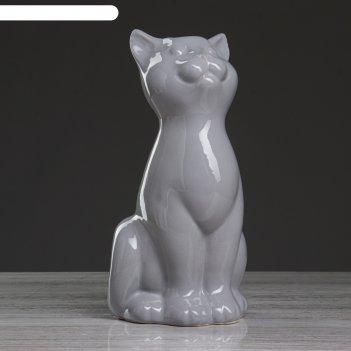 Ваза настольная кошка, серая , 25 см