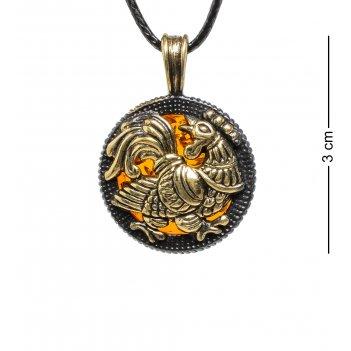 Am-1764 подвеска зодиак петух (латунь, янтарь)