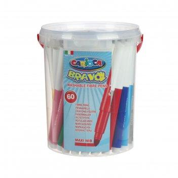 Фломастеры maxi 60 цветов carioca bravo 6.0 мм, картонный конверт 40100