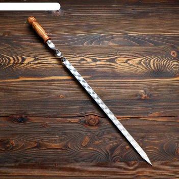 Шампур узбекский для люля кебаб широкий 50см/2см с деревянной ручкой