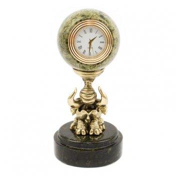 Часы слон с шаром змеевик