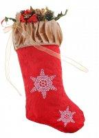 Носок с шишками и веточками ажурные снежинки (микс)