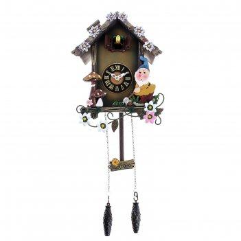 Часы настенные с кукушкой гномики и грибочки