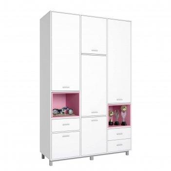Шкаф трехсекционный polini kids mirum 2335, белый/розовый