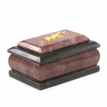 Оригинальная шкатулка из камня лемезит с ящеркой 12х7,5х6 см