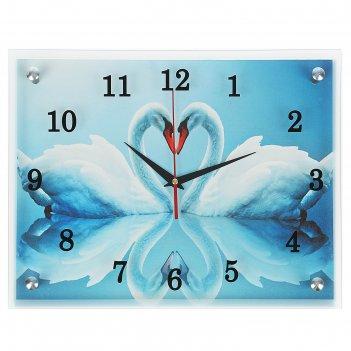 Часы настенные, серия: животный мир, два белых лебедя, 30х40  см, микс