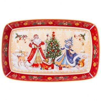 Блюдо lefard дед мороз и снегурочка прямоуг. 30х19х4см красное  (кор=12шт.
