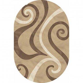 Овальный ковёр «карвинг» mega carving d262, 100 х 300 см, цвет light beige