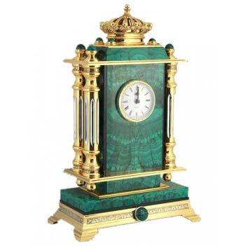 Часы каминные корона малахит
