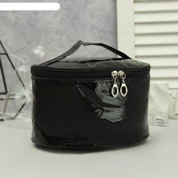 Косметичка-сундучок, отдел на молнии, зеркало, цвет чёрный