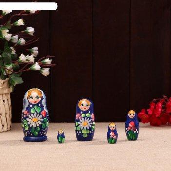 Матрешка «ромашки», синяя, 5 кукольная, 10,5 х5.5 см