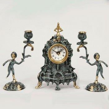 Часы настольные франк с канделябрами на 1 свечу, набор из 3 предм.