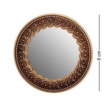 Bst-413 зеркало лилия круг.(береста, тиснение)