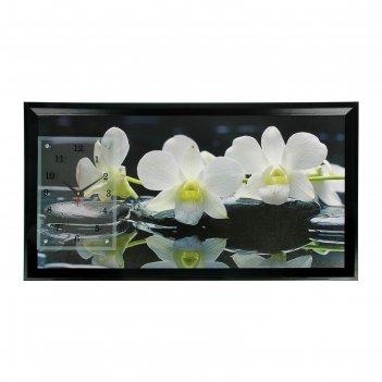 Часы-картина настенные прямоугольные белые орхидеи, 50х100 см