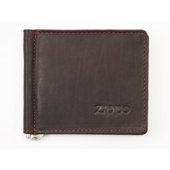 Зажим для денег zippo, цвет мокко, натуральная кожа, 10,5x1x9 см