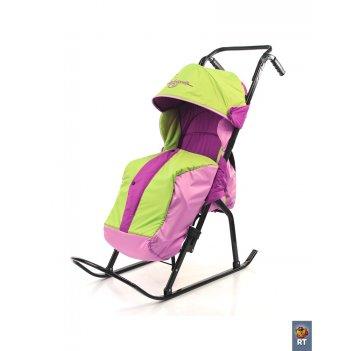Санки-коляска кенгуру-2 сиреневый-розовый-салатовый