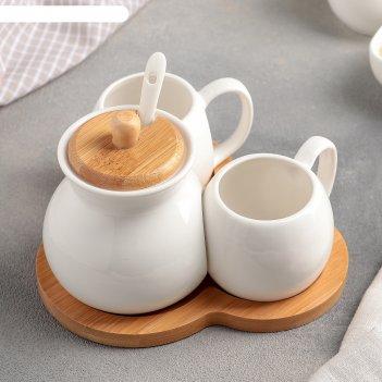 Набор чайный 3 пред эстет 2 чашки 200 мл, сахарница с ложкой