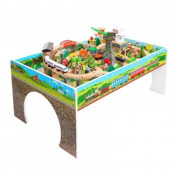 Железная дорога, 110 элементов, стол в комплекте