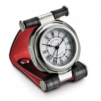 Часы путешественника в кожаном чехле, черный/красный