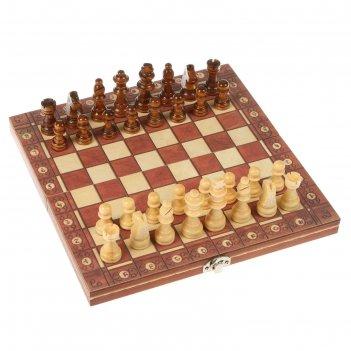 Шахматы шашки нарды 3в1, дерево, на магнитах, 24*4*12см