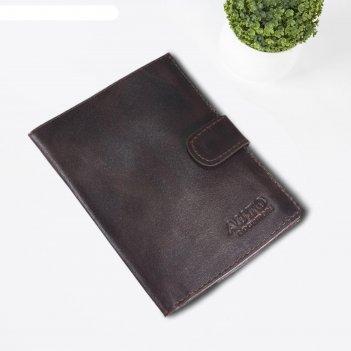 Обложка для автодокументов, размер 9,5 х 13,8 см, цвет коричнево-тёмный