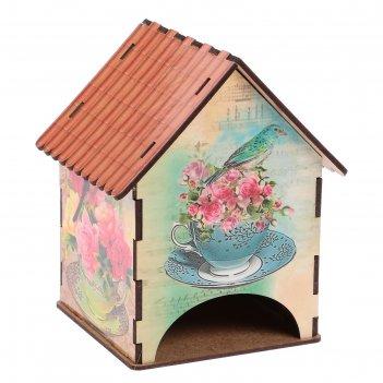 Чайный домик домик с розами и птичками 15х10х10 см