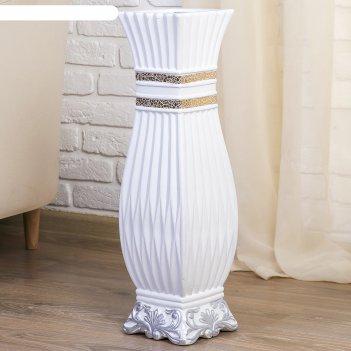 Ваза керамика напольная дионелла d-12см, 16х60 см, квадратная, белая