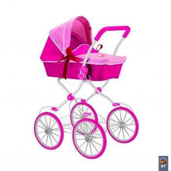 603 кукольная коляска rt цвет фуксия+розовый