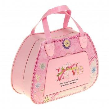 Шкатулка музыкальная механическая сумочка розовая 13х17,8х7,3 см