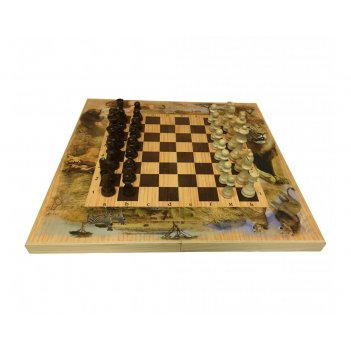 Набор игр шахматы нарды, шашки с доской сафари