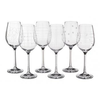 Набор бокалов для вина из 6 шт. виола микс 250 мл. высота=21 см. (кор=1наб