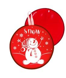 Мт12217 сани-ледянка круглая снеговик цвет красный, 40,5см