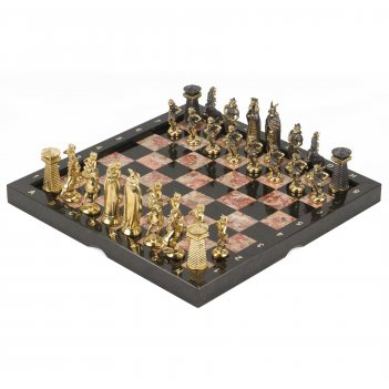 Шахматы викинги бронза креноид змеевик 360х360 мм