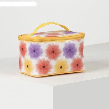 Косметичка-сундук, 22*14*15, отд на молнии, цветы нежные