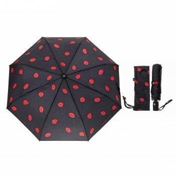 Зонт жен авт 3 слож r=50см 8 спиц сатин очаровательные губки черный soft 1