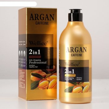 Профессиональный шампунь против выпадения волос с кафеином и аргановым мас