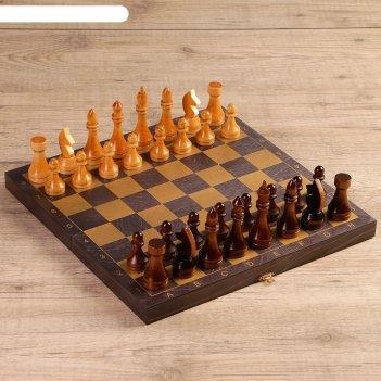 Шахматы золото (доска дерево 40х40 см, фигуры дерево, король h=10.6 см, пе