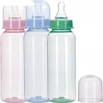 Бутылочка для кормления цветная, 250 мл, от 0 мес., цвета микс