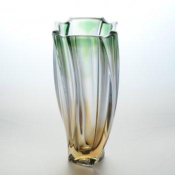 Ваза зеленая bohemia gold neptune 30 см