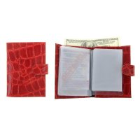 Обложка автодокументы+паспорт+бумажник, натуральная кожа, красный скат