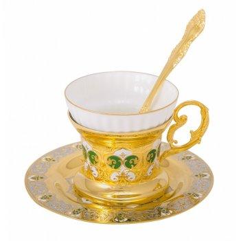 Набор чайный яблочко мартовское ( тарель, чашка, ложка) златоу