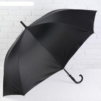 Зонт-трость, полуавтомат, r=56см, цвет чёрный