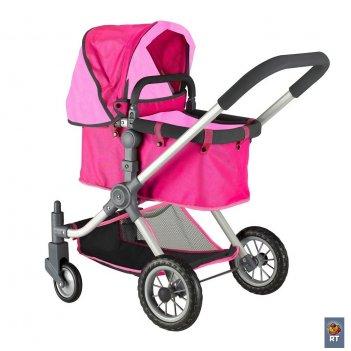 646 кукольная коляска rt цвет фуксия+розовый