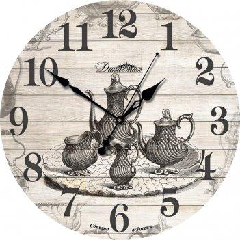 Настенные часы из дерева династия 02-004 чаепитие
