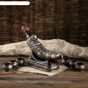 Штоф с рюмками кинжал набор 8 предметов, бронза 0,375 л