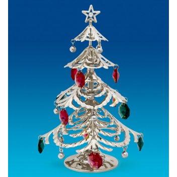 Ar-1326/ 2 фигурка новогодняя елка посеребр. с цв.кр. (юнион)