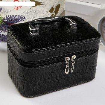 Шкатулка кожзам питон благородный чёрный 11,5х19х11 см