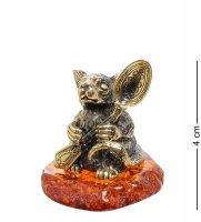 Am-1674 фигурка мышь герман с ложкой (латунь, янтарь)
