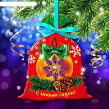 Новый год, вышивка лентами на мешочке елочный шар, основа 25*35 см